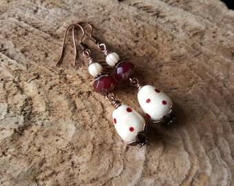 Spotty Lampwork Bead Charm Earrings, Bohemian Beaded Earrings, Boho Style Dangly Earrings, Red & Cream Earrings, Copper Earrings