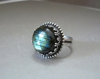 Labradorite, Round, Bold, Natural, Fiery, Cocktail Ring, Statement Ring, Oxidized, Sterling Silver  - size 8 - OOAK