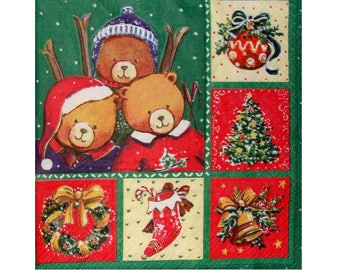 Set of 3 paper napkins NOE006 bears with their skis and Christmas motifs