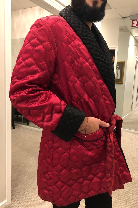 Vintage Smoking Jacket Burgundy Robe Quilted Smoking Jacket