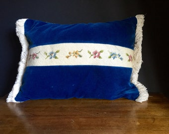 Vintage Blue Velvet and Needlepoint Pillow