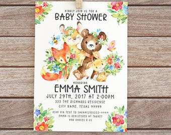Woodland baby shower invitation, Invites with fox, bear, rabbit, baby girl invite, digital invite with flowers, printable forest 6-13