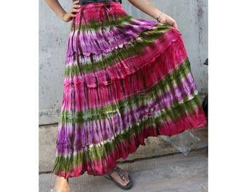 Purple Pink Tie Dye Cotton  Boho Hippie Gypsy Comfy Summer Casual Long Smock Elastic Waist Skirt  Short dress S-L (18)