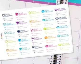 Appointment Planner Stickers Erin Condren Life Planner (ECLP) - 25 Doctor and Dentist Appointment Stickers (#3000)
