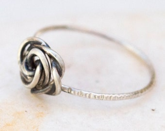 Thin ring, Sterling silver ring, Stacking silver ring, Dainty ring, Flower ring,Thin ring band, Floral ring, Rose ring, Wire ring, Handmade