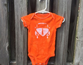 Car Baby Bodysuit, Orange Baby Bodysuit, Orange Car Baby Bodysuit, Boy Baby Bodysuit, Girl Baby Bodysuit, Baby Bodysuit Gift  (9 months)