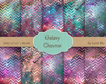 "Chevron Digital Paper Pack: ""Galaxy Chevron"" scrapbook paper, colorful digital paper, for personal & small commercial use"