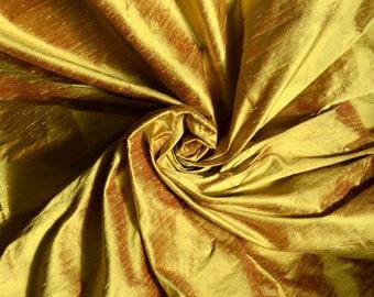 Silk dupioni in Mustard with Maroon ,Extra wide  54 inches Half yard, DEX 301