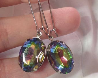 oO SATURNE Oo Volcano glass stone earrings