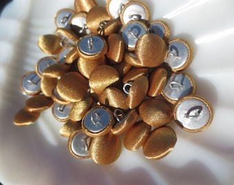 """Antique Gold Shank Buttons 1/2"""" Satin Fabric Covered 13mm-48 pieces"""