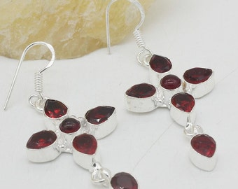 """Rich Red Garnet 2 1/4"""" Dangle Earrings"""