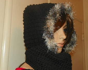Beautiful Black Hooded Scarf with Fur  Around the Face