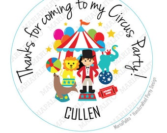 CIRCUS stickers Party Personalized PRINTED round Stickers,Happy Birthday tags, Labels or Envelope Seals  A931