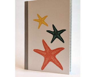 A6 Notebook - Starfish print Notebook, A6 Sketchbook Notepad.