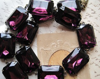 Purple Statement Necklace, Amethyst Necklace, art deco necklace, collet necklace, Anna Wintour, Georgian collet