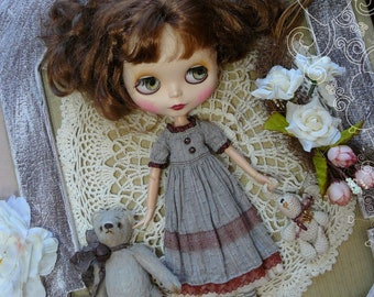 Blythe gray vintage dress / Pullip gray dress, pullip clothes / dress for Blythe /  short sleeves dress