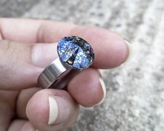 Swarovski Crystal Ring Black Patina Ring Surgical Steel Ring Swarovski Jewelry