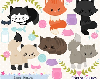 INSTANT DOWNLOAD, cat clipart and vectors for crafts and products