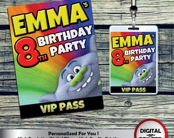 Trolls  VIP Pass Badges Personalized for Birthdays or any Celebration - any age