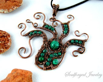OOAK Kraken pendant - Unique octopus copper wire wrapped statement pendant with malachite beads, handcrafted