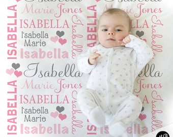 Hearts Name Blanket in pink and gray for Baby Girl, personalized baby gift, blanket, baby blanket, personalized blanket, choose colors
