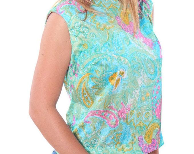 Medium Large Vintage 1950s 60s 70s Pastel Paisley Shirt Blouse 4AA
