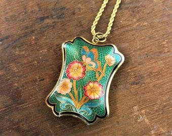 Butterfly Flower Cloisonne Necklace, Green Gold Monet Chain