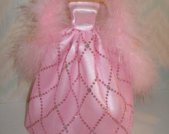 """11.5"""" Fashion Doll clothes-  Regular, Tall, Curvy or Petite - pink handmade gown with boa"""