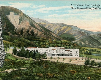 Arrowhead Hot Springs Hotel near San Bernardino California Vintage Postcard (unused)