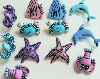 UNDER THE SEA Creature Fish Seahorse Crab Lobster Dolphin Dress It Up Craft Buttons