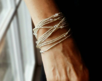 Icicle Crystal and Silver Long Seed Bead Stretch Bracelet, Necklace