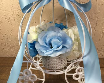 Cinderella Coach Centerpiece / white and Blue Coach Centerpiece/ Princess Party