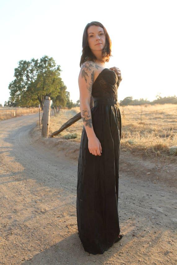 ONYX Victorian Style Black Taffeta Skirt 1980's Vintage