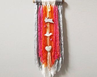 Boho Baby, Yarn Wall Hanging, Bohemian, Nursery Decor, Gray, Pink, Bunny, Bird, Heart, Textile Art, Branch Wall Hanging