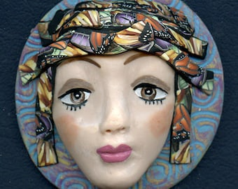 Lady Face Medallion Polymer Clay  3 Inch Large Detailed Face with Caned Hat  Medallion CFM 1