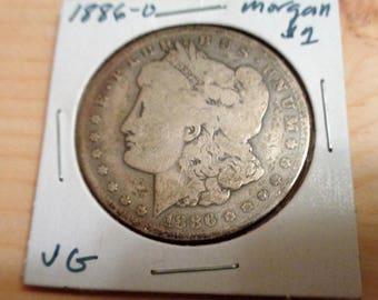 1886-O Morgan Silver Dollar , Vintage Coin, American  Silver One Dollar Coin, Old Coin, Collectable Coin