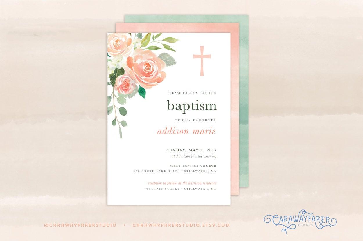 Peach Floral Printable Baptism Invitation Template Girl