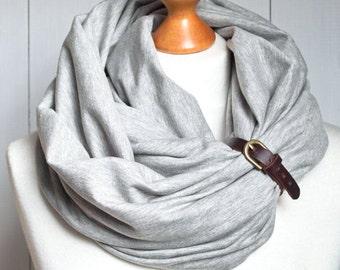 GREY infinity scarf with leather strap, infinity scarves ZOJANKA, basic scarf, mediumweight scarf, women accessories, scarves,
