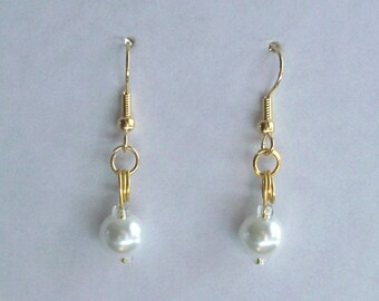 April Crystal White Pearl Birthstone Earrings French Wire or post Gold  or silver pierced Czech bead Glass Pearl Finish