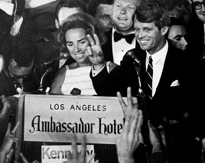 Senator Robert F. Kennedy Celebrates His California Primary Win Minutes Before Being Shot - 5X7 or 8X10 Photo (AA-828)