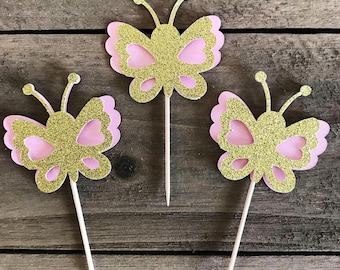 Pink and Gold Glitter Butterfly Cupcake Toppers, Butterfly Cupcake Topper, Birthday Cupcake Topper, Fairy Party Party Decorations,