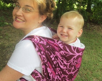 SALE Woven Baby Wrap Carrier- Linen Blend Magenta - DVD included - Size 4, baby wrap, toddler carrier, summer wrap