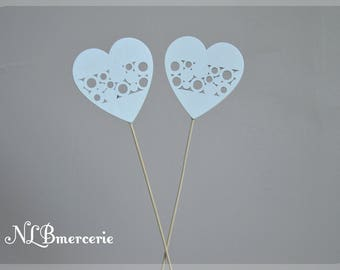 Hearts on the stem to accessorize your deco or art floral Valentine set of 2