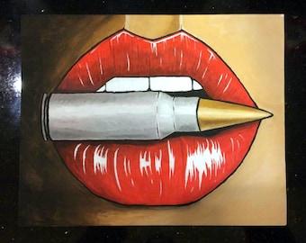 Bullet Lipstick - Acrylic Painting on Canvas Panel, 30cm/24cm