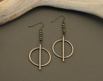 SALE! Aphrodite sterling silver circle drop earrings with turquoise, pyrite and brass beads