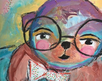 Colorful mixed-media otter character print