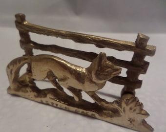 brass letter rack, fox letter rack, vintage letter rack, farm fence, fox by fence, desk stationery, 1940s letter rack, letter holder,