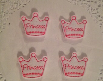 White Felt Mini Princess Crown Appliques with Pink Trimming-Set of  4