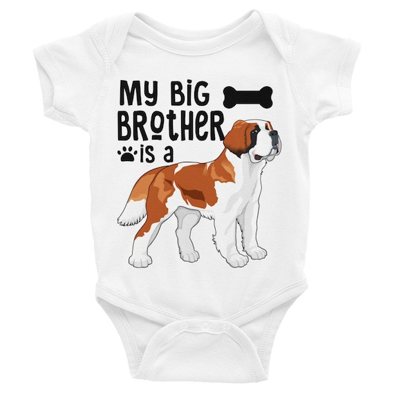 St. Bernard Big Brother Little Brother Onesie®, Dog Sibling Baby Onesies, St Bernand Baby Clothes, Dog Baby Clothes, My Big Brother is a Dog