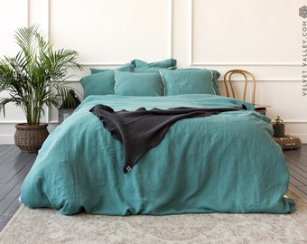 Linen teal blue duvet cover- stone washed linen dusty sea blue duvet cover - Queen/king size duvet-softened linen duvet cover